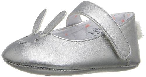 Rosie Pope Kids Footwear Prewalker Bunny Mary Jane Crib Shoe , Silver, 6-9 Months M US Infant