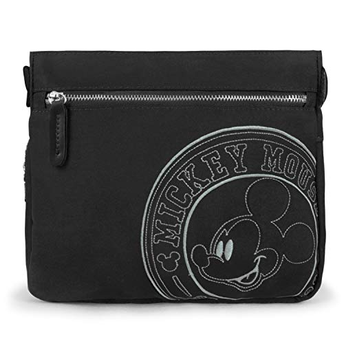 ililily X Disney Mickey Embroidered Cross Body Nylon Shoulder Tote Bag, Black