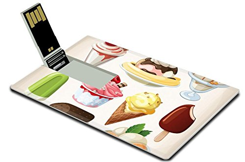 Luxlady 32GB USB Flare Drive 2.0 Memory Stick Credit Card Size Set of colorful tasty isolated ice cream IMAGE 21022932
