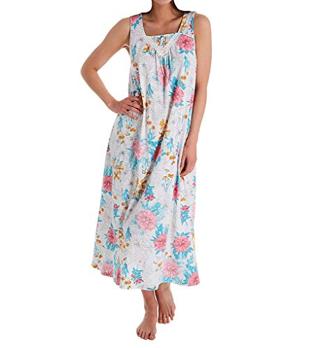 Carole Hochman Sleeveless Long Gown White Multi Floral SM