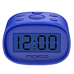 Digital Alarm Clock, MoKo High Accuracy Mini LCD Display Kids Clock Night Light Travel Bedside Alarm Clocks with Snooze Time Backlight Electronic Home Office Table Clock - BLUE