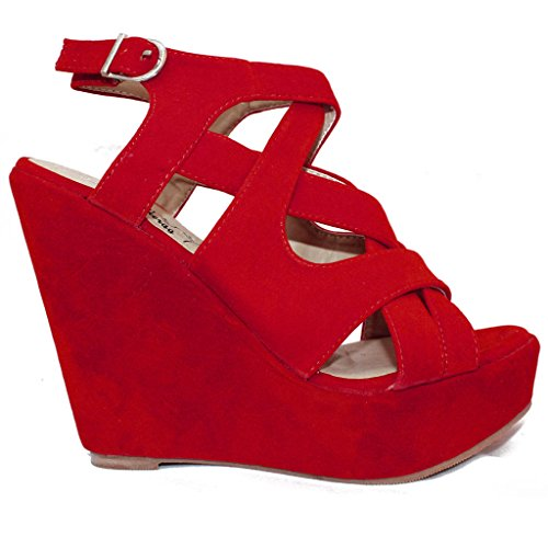 Envy London - Zapatos con tacón mujer, color rojo, talla 40 EU