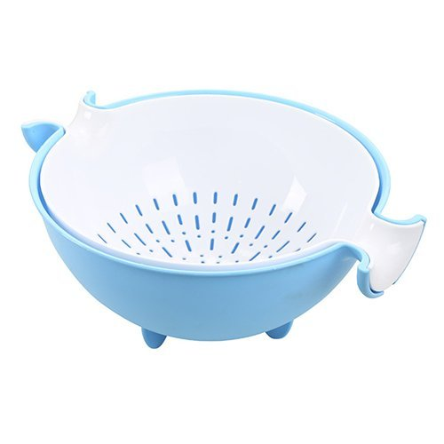 RUWALY Double Layer Draining Basket Plastic Multifunctional Washing Bowl Strainer Hollow Design Colander Basin for Washing Fruit & Vegetable Blue