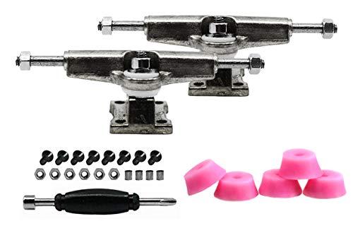 티크 튜닝 지판 스페이서 트럭 크롬 실버-5 라이트 핑크 버블 부싱 세트 포함-32MM 너비-조정 및 조립