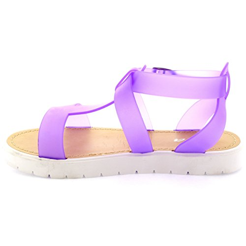 A Semelle Crampons Sandales Ouvert Femmes Bout Chaussures Violet Viva Gelée Strap T AwSTfXq