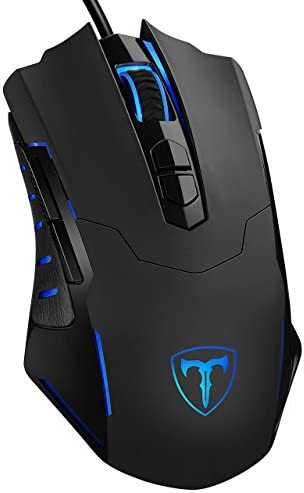 PICTEK Gaming Mouse Wired [7200 DPI] [Programmable] [Breathing Light] Ergonomic Game USB Computer Mice RGB Gamer Desktop Laptop PC Gaming Mouse, 7 Buttons for Windows 7/8/10/XP Vista Linux, Black