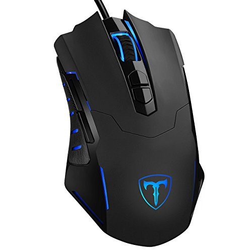Video Games : PICTEK Gaming Mouse Wired [7200 DPI] [Programmable] [Breathing Light] Ergonomic Game USB Computer Mice RGB Gamer Desktop Laptop PC Gaming Mouse, 7 Buttons for Windows 7/8/10/XP Vista Linux, Black