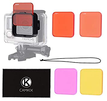 CamKix Diving Lens Filter Kit Compatible with GoPro Hero 4, Hero+, Hero and 3+ - fits Standard Waterproof Housing - Enhances Colors for Underwater ...