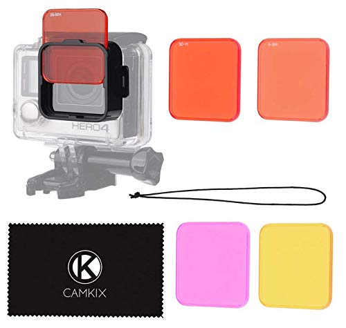 CamKix Diving Lens Filter Kit Compatible with GoPro Hero 4, Hero+, Hero and 3+ - fits Standard Waterproof Housing - Enhances Colors for Underwater Video and Photography - Includes 5 Filters (Best Gopro Lens Filter)