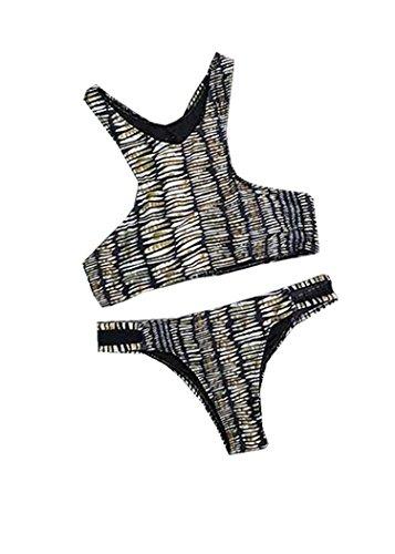 Qumei Lace Up para Mujer Bottom Padding Net hilado Bikini Set Color 1