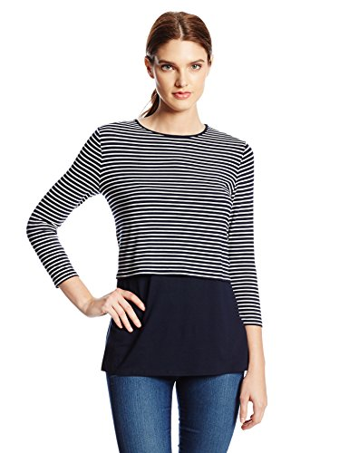 Vince Camuto Women's Long Sleeve Tropic Stripe Top with Cami, Blue Night, X-Small