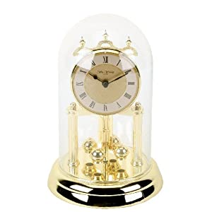 9 Quot Glass Domed Anniversary Clock Gold Colour With