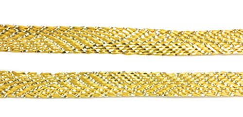 Gold Flat Braid - 3/8'' -(7mm) / Metallic Gold Braided -Gold Lurex/Rayon Flat Braid Ribbon, Sewing,Quilting Trimming 10 yds