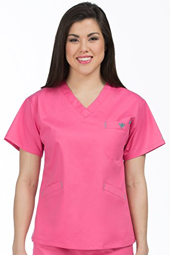 Med Couture Women's V-Neck Signature 3 Pocket Scrub Top, Bubble Gum/Spearmint, X-Large