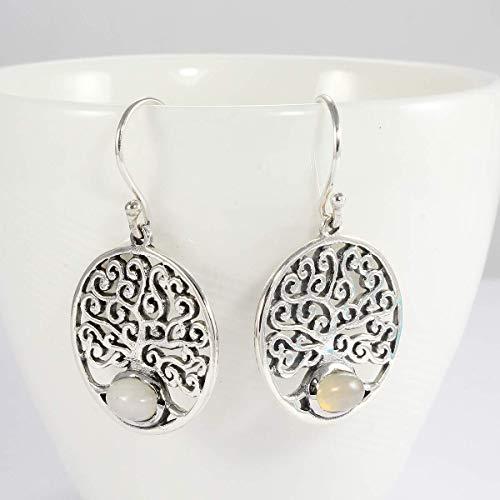 Opalite Tree of Life Earrings,925 Sterling Silver beautiful dangle earrings with enchanting 4 * 6 mm white opal, earring oval stone, silver dangle earring with white stone