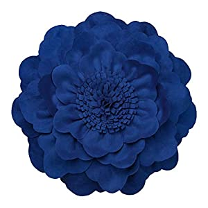 JWH 3D Peony Flower Accent Pillow Handmade Cushion Decorative Pillowcase with Pillow Insert Cotton Sham Wool Flower Home Bed Living Room Decor Girl Gift 14 Inch Blue