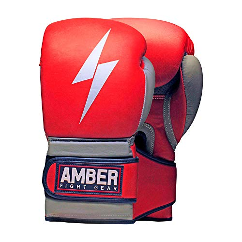 - Amber Fight Gear Gladiator Real Leather Vintage Boxing Gloves Boxing Kickboxing Muay Thai Training Gloves Gel Sparring Punching Bag Mitts 12oz