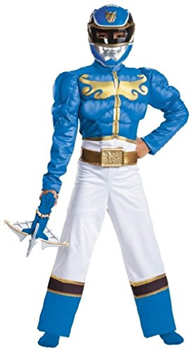 Ponce Boys Muscle Blue Power Rangers Costume Deluxe Padded Jumpsuit Kids M L (Child Blue Ranger Muscle Costume)