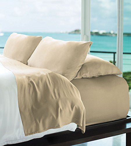 Resort Bamboo Sheets by Cariloha - 4 Piece bed Sheet Set - Luxurious Sateen Weave - 100% Viscose From Bamboo Bedding (Beachwood, Queen)