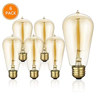 6-Pack Edison Light Bulbs, ST58 Squirrel Cage Filament Light Bulb 40 Watts, Warm White (2200K) E26 Medium (Standard) Base Light Bulbs for Home Light Fixtures