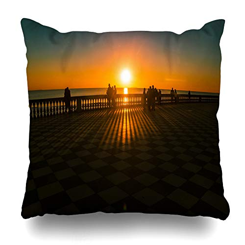 Ahawoso Throw Pillow Cover Belvedere Leghorn Livorno Tuscany Italy Promenade Mascagni Terrace at Night Coast Black White Decorative Pillowcase Square 18x18 Home Decor Zippered Cushion Case ()