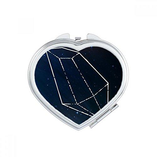 Blue Star Crystal Universe Sky Fantasy Heart Compact Makeup Mirror Portable Cute Hand Pocket Mirrors Gift (Compact Mirror Heart Crystal)