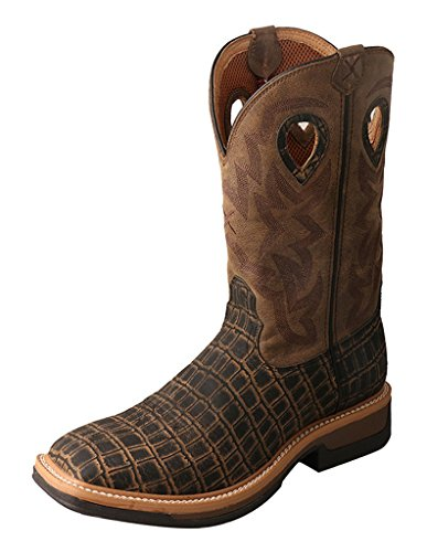 Twisted X Mens Lite Cowboy Alloy Toe Workboots, Cayman Print/Bomber, Size 10