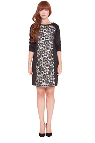 Olian Maternity Dresses - Olian Eloise Lace Inset Maternity Cocktail Dress - Black - X-Small