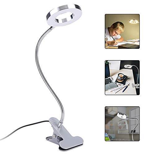 LED Reading Light, Tattoo Makeup Lamp, USB Charging Adjustable Beauty Manicure Salon Desktop Led Lights with Clip for Eyebrow, Lip, Eyelash Extension, Watch Repair, 2 Brightness (#04)