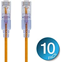 Monoprice SlimRun Cat6A Ethernet Patch Cable - Network Internet Cord - RJ45, 550Mhz, UTP, Pure Bare Copper Wire, 10G, 30AWG, 5ft, Yellow, 10-Pack