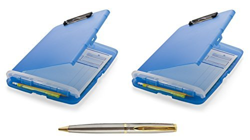 Officemate Slim Clipboard Storage Box, Translucent Blue (83304), 2-Pack