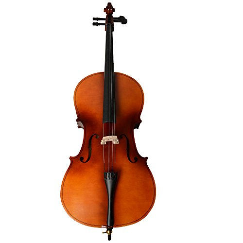 Cello Musical Instrument - 4/4 Acoustic Cello + Case + Bow + Rosin Wood Color Beautiful Varnish Finishing (Matt Natural)