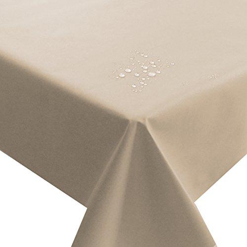 NL Meterware Stoff Farbe , Breite & Länge wählbar - Beige Sand Natur TEFLON Eckig 130 x 190 bzw. 190x130 cm Tischdecke