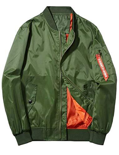 Suede Us Army Baseball Jacket - Etecredpow Mens Plus Size Baseball Coat Zipper Light Weight Flight Bomber Casual Jacket Army Green XS