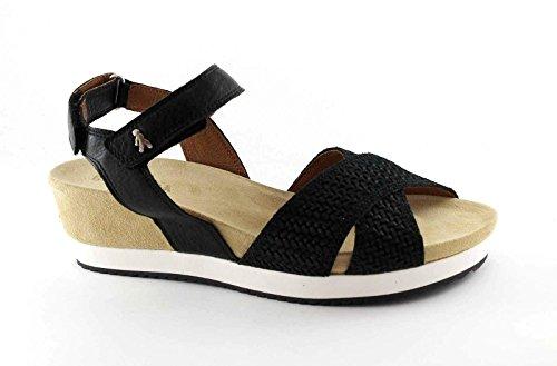 leather Benvado Nero sandals woman 37006001 wedge black tearing OLGA qqAntSxg