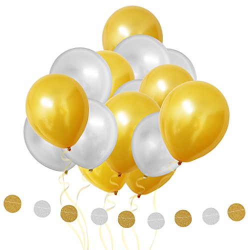 Latex Balloons Gold & Silver - Party Balloons 101 Pcs/12 Decoration Balloons and 1 Styling Banner Decorations &String - For Birthday Party, Kids Parties, Baby Showers, Graduation & (Silver And Gold Balloons)