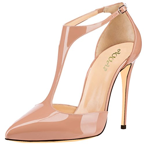 AOOAR Women's Ankle T-Strap High Heel Nude Patent Party Pumps 10 M (High Heel T-strap Pumps)