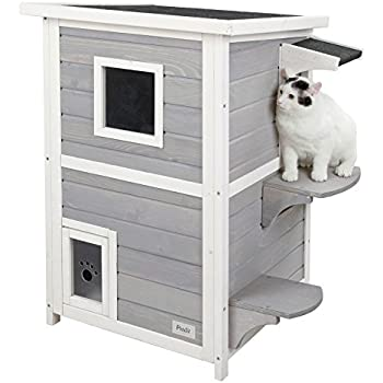 """Petsfit 2-Story Weatherproof Outdoor Kitty Cat House/Condo/Shelter with Escape Door 20""""Lx20""""Wx32""""H"""