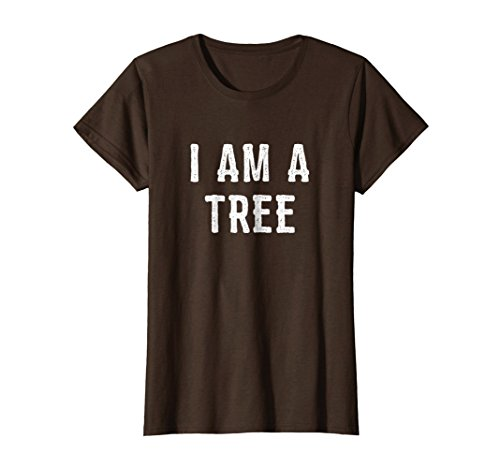 Womens I Am a Tree Halloween Shirt Funny Easy Costume Idea Medium Brown