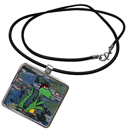 3dRose All Smiles Art - Funny - Funny Cute Loch Ness Monster in Monet Water Lilies Art - Necklace with Rectangle Pendant (ncl_317012_1)
