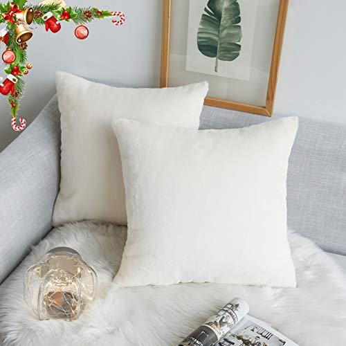 (Kevin Textile Christmas Decor Faux Crystal Mink Fur/Suede Throw Pillow Covers Ins Style Super Soft Fluffy Velvet Cushion Cover for Bed/Sofa, 2 Pack, 18 inches, Ivory White)