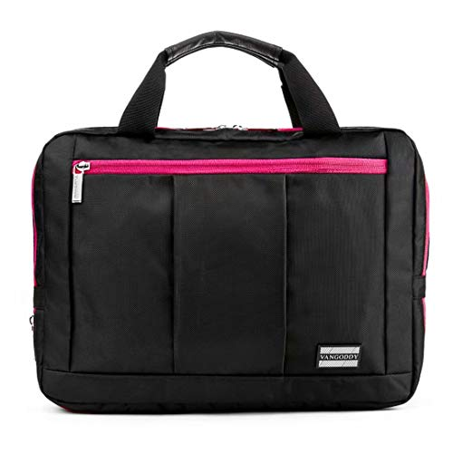 Three in One Backpack, Briefcase, and Messenger Bag for Dell Inspiron, Latitude, Vostro, XPS, Chromebook, Alienware, Laptops up to 13.75 inch (Black Magenta)