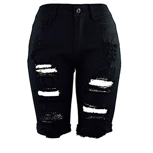 伝染性そよ風個人BJHG ORIGINALSWomens Casual Ripped Distressed Hole Short Jeans Juniors Mid Waist Denim Pants