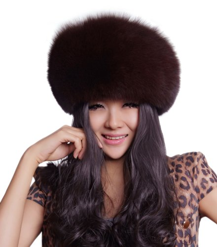 URSFUR Women's Genuine Fox Fur Russian Ushanka Hats Multicolor (Coffee) by URSFUR