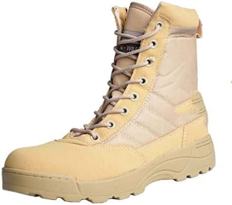 耐久性のあるスタイルの屋外耐摩耗柔らかい快適なスポーツ滑り止め高トップレースのスタイルハイトラクショングリップを靴ポリエステルラバーソールをハイキング男性のための砂漠の戦闘ブーツの靴 (色 : ベージュ, サイズ : 25 CM)