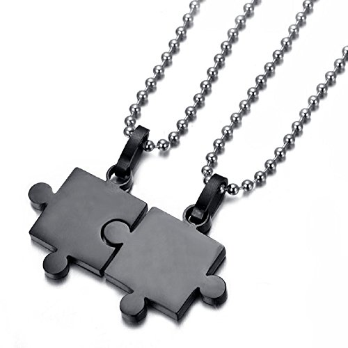 THOBAL 1 pair Black Alloy Jigsaw lovers pendant couple necklace relationship puzzle necklace for ()
