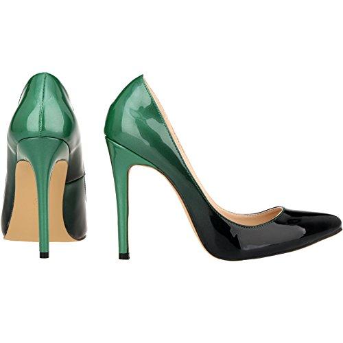 de54da81c7c LOSLANDIFEN Women s Pionted Toe Double Color Pumps Slender Leather Stiletto  High Heels Wedding Shoes(302