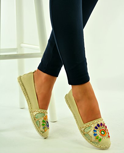 New Womens Ladies Ethnic Flats Espadrilles Ballerina Loafers Slip On Shoes Size Beige 8AfNtW