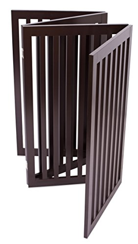 Internet's Best Traditional Pet Gate | 4 Panel | 36 Inch Tall Fence | Free Standing Folding Z Shape Indoor Doorway Hall Stairs Dog Puppy Gate | Fully Assembled | Espresso | Wooden by Internet's Best (Image #6)