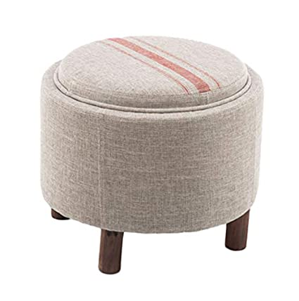 Wondrous Amazon Com Storage Cube Ottoman Wooden Round Foot Stool Ncnpc Chair Design For Home Ncnpcorg